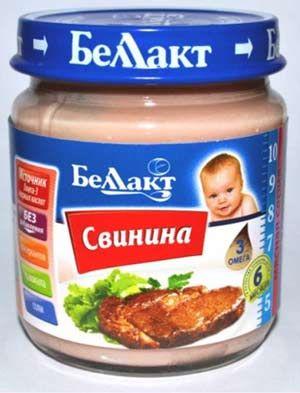 Мясное детское пюре «Беллакт». Свинина