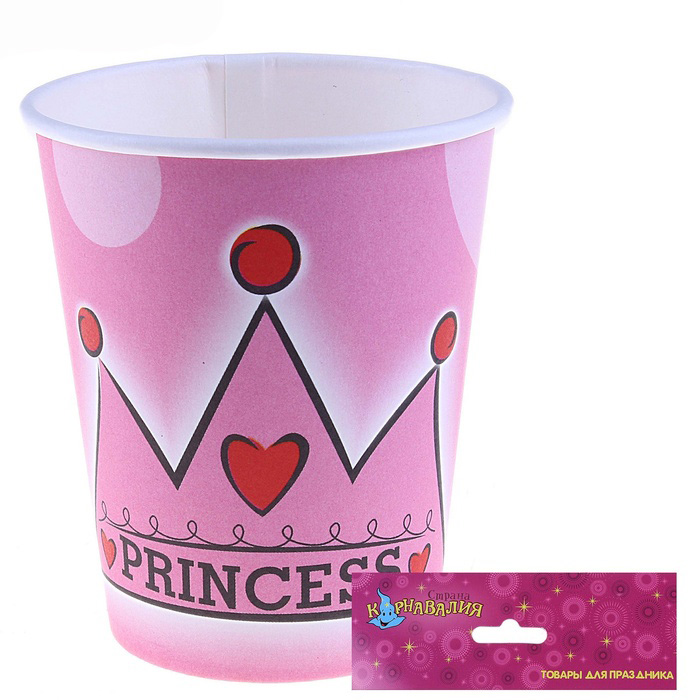Стакан «Принцесса» 220 мл, набор 6 шт
