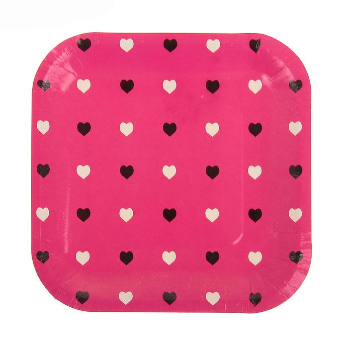 Тарелка «Цветные сердечки», набор 6 шт, 18 см, цвет: малиновый