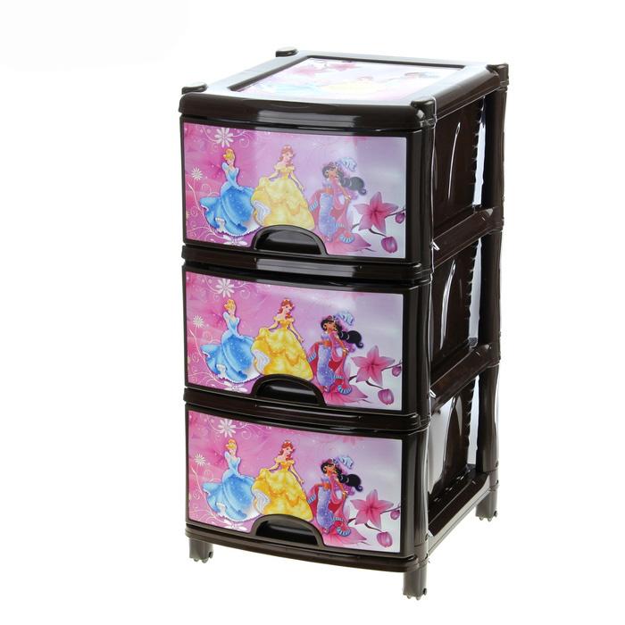 Комод детский для игрушек «Принцесса», 3 секции, на колесах
