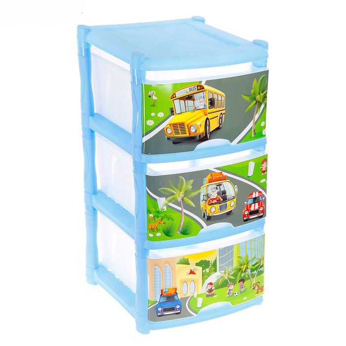 Комод для игрушек City Cars, 3 выдвижных ящика