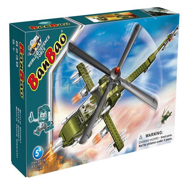 8238 Конструктор пластмассовый (231 эл.+1 фиг.Вертолет)
