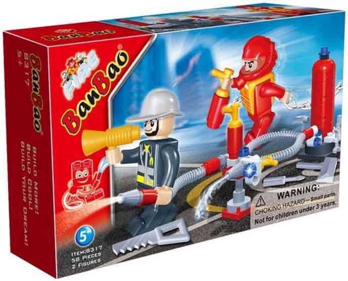 8317 Конструктор пластмассовый BanBao Пожарная команда