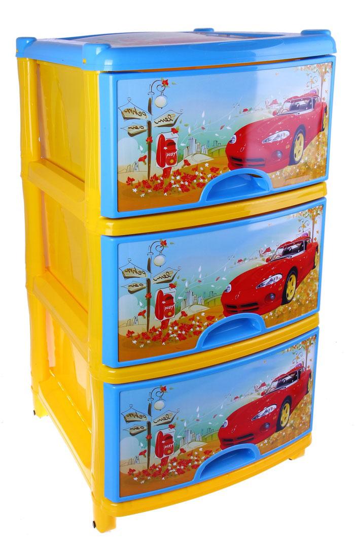 Комод  «Тачки» на колесиках, 3 ящика