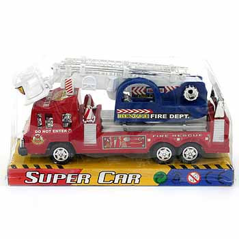 Инерц. маш. пласт. Пожарная с подъемником PVC 19х10х7см.