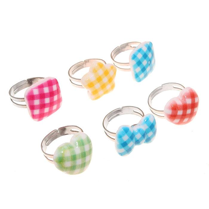 Кольцо детское «Ассорти в клетку», цвет МИКС, безразмерное