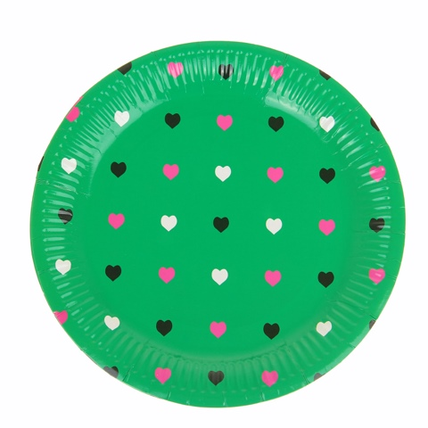 Набор бумажных тарелок «Цветные сердечки» зеленый цвет, (6 шт), 18 см