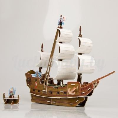 Детский 3D пазл «Пиратский корабль Черная жемчужина» 112 деталей